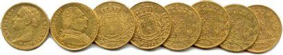 Lot de huit pièces de 20 Francs or de Napoléon...