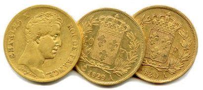 Lot de trois pièces de 40 Francs or Charles...