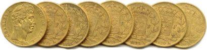 Lot de huit pièces de 20 Francs or Charles...