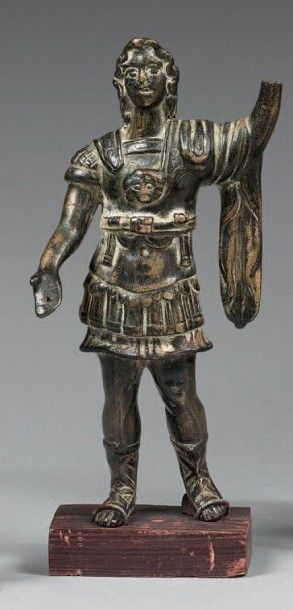 STATUETTE personnage en armure Bronze patine...