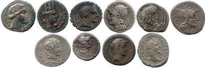 Lot de dix deniers romains en argent (République...