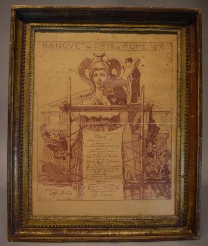 Menu du banquet des prix de Rome 1928. (Pliures.)...