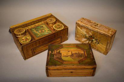 Trois boîtes en marqueterie de paille (e...
