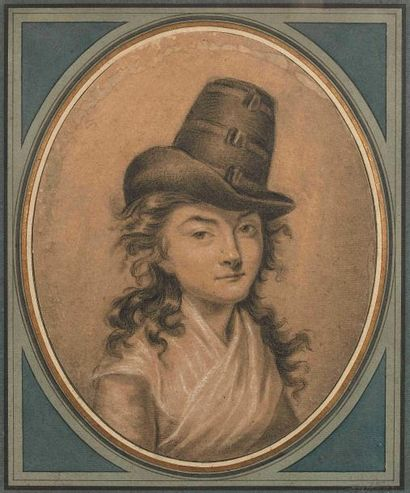 Ecole française vers 1800 : Portrait en buste...