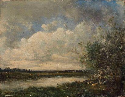 Victor DUPRE (1816-1879) : Paysage à l'étang....