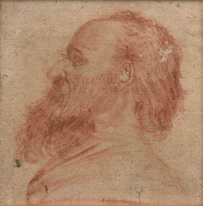 Ecole italienne du XVIIe siècle : Tête d'homme...