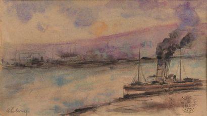 Albert LEBOURG(1849-1928) : Vapeur à quai...