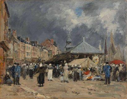 Eugène BOUDIN (1824-1898) : Le Marché à Trouville...