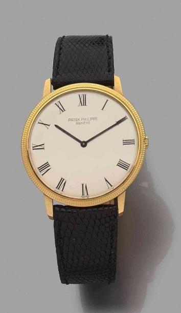 """Montre bracelet d'homme réf. 3590 """"Calatrava"""" automatique en or jaune 18K (750)..."""