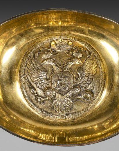 Important kovch offert par l'Impératrice Catherine II de Russie, en vermeil 875...
