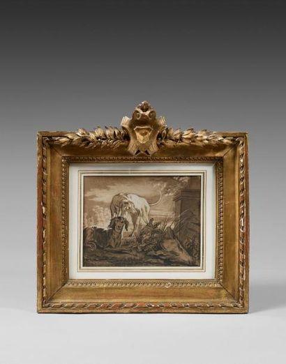 Jean Baptiste OUDRY (1686-1755) : Deux chiens...