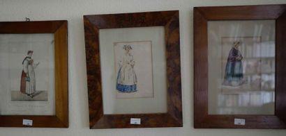 Trois illustrations de costumes Alsaciens...