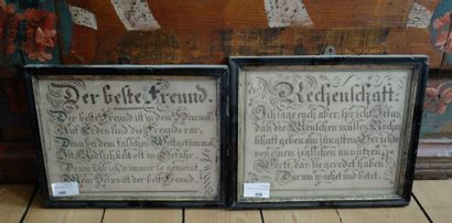 Deux sous-verres calligraphiés : Der best...