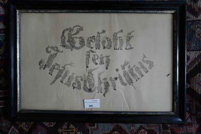 Sous-verre calligraphie : Gelloft Iesus Christus....
