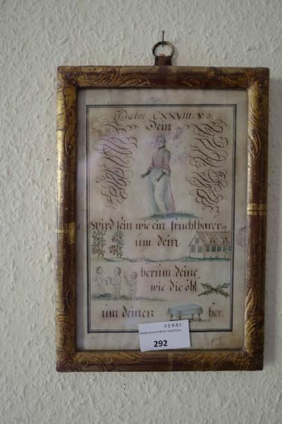 Vignette sous-verre : Psaume 128, calligraphie...