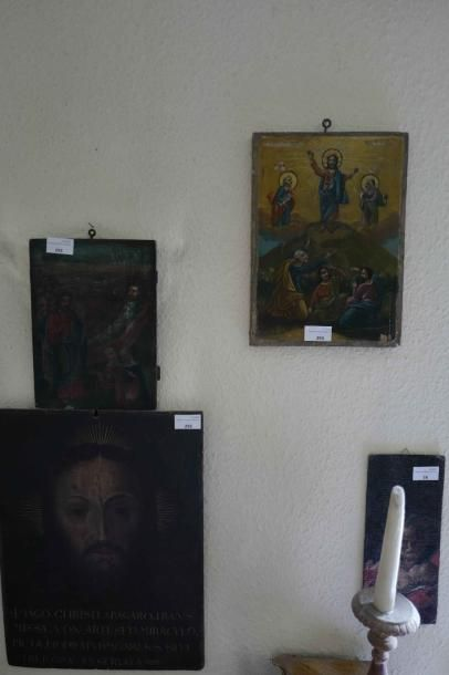 Deux panneaux gréco-russe : scène religieuse....