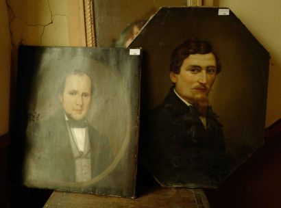 Deux toiles portraits d'hommes. Fin XIXe...