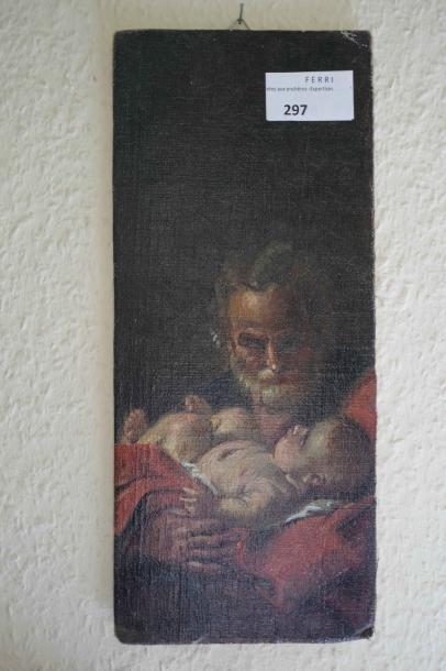 Peinture sur carton : Scène d'adoration....