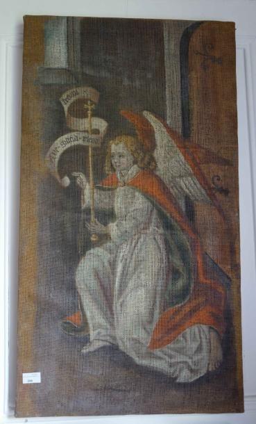 Toile peinte : L'ange Gabriel.  Haut. 90...