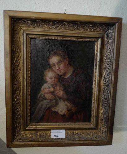 Ecole Française, vers 1900  Mère et enfant....