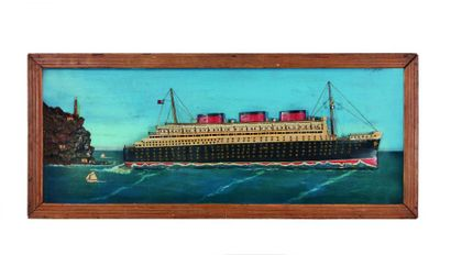 Diorama représentant le Queen Mary quittant...