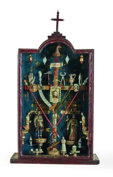 Croix de cabine de marinier du Rhône aux instruments de la Passion dans une niche...