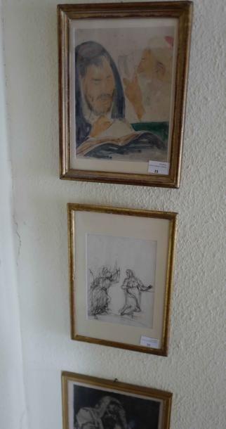 Trois sous-verre aquarelles, dessins, gravures....