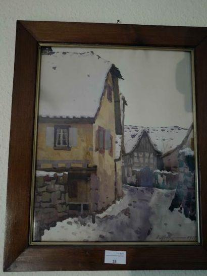 Ecole française du XIXe siècle  Rue enneigée...