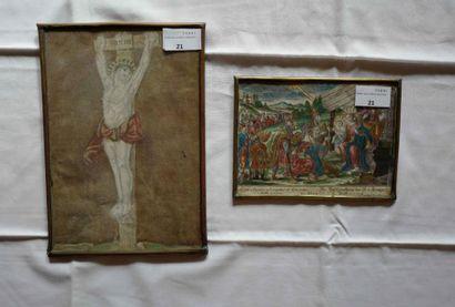 Deux gravures sous-verres : Adoration et...