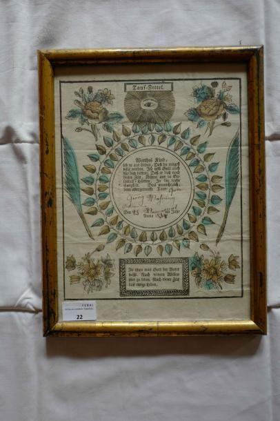 Brevet sous-verre imprimé, daté 1834.