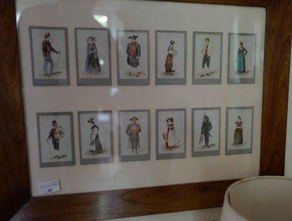 Sous-verre costumes régionaux : douze aquarelles...