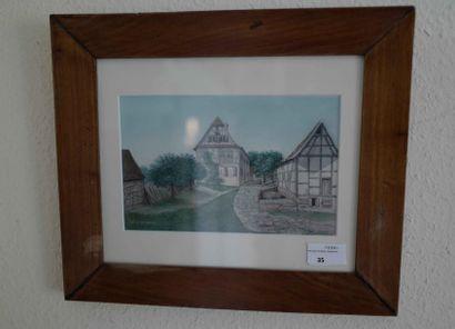 Ecole alsacienne  Le village.  Aquarelle....
