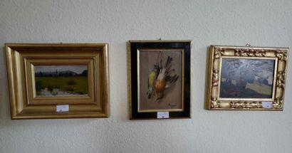 Trois peintures modernes : Deux paysages...
