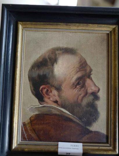 Carton toilé : Profil d'homme barbu.  Haut....