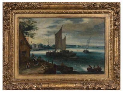 Joseph VAN BREDAEL (1688-1739)  Paysage fluvial...