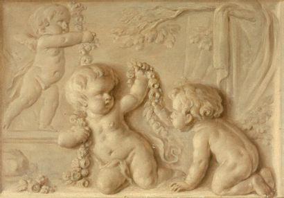 Piat Joseph SAUVAGE (1744-1818)  Putti jouant...