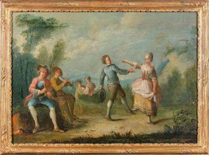 Ecole française du XVIIIe siècle  Couple...
