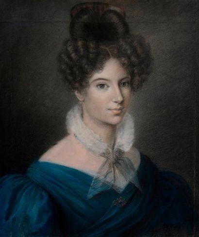 Ecole française vers 1840  Portrait de jeune...