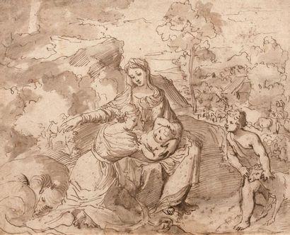 Suiveur de Nicolas POUSSIN  Vierge à l'Enfant...