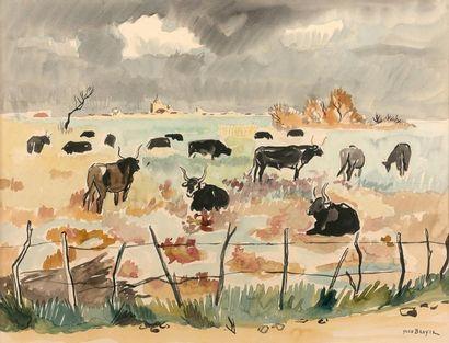 Yves BRAYER (1907-1990)  Paysage de Camargue...