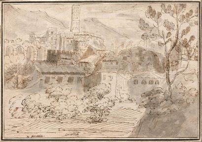 École flamande du XVIIe siècle  Paysage d'Italie...