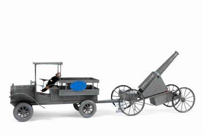 Jouet de plancher à tirer, 1914/1918 : tracteur...