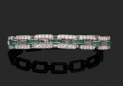 Bracelet souple en platine à maillons rectangulaires,...