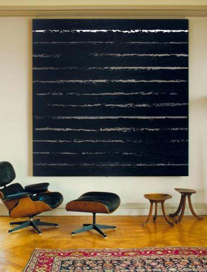 Pierre SOULAGES (né en 1919) Peinture 222 x 222, diptyque, 8 juin 2001 Acrylique...