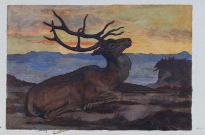 Paul JOUVE (1878-1973) : Cerf allongé. Crayon,...