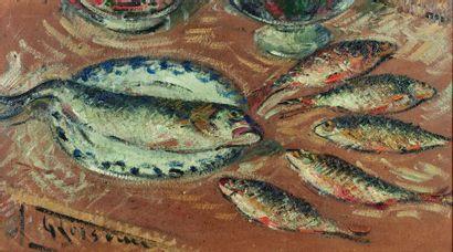 Gustave LOISEAU (1865-1935) : Bar et gardons....