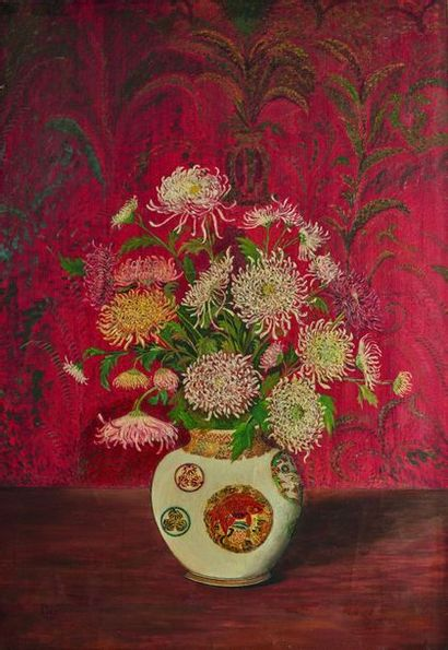 Ivan LEY (1882-1961) : Chrysanthèmes dans...