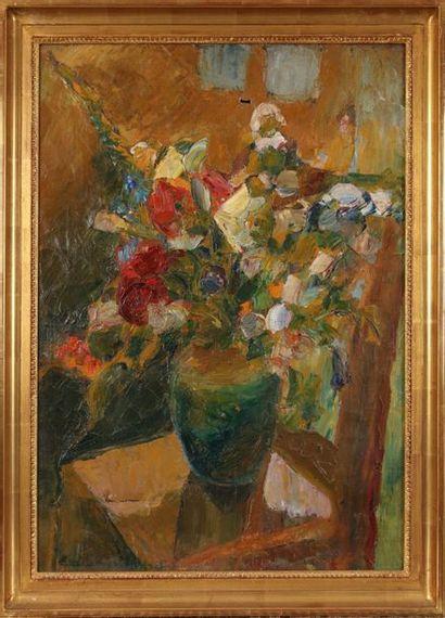 Émile COMPARD (1900-1977) : Fleurs à la chaise....