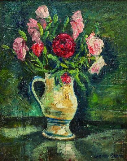Lucien GÉNIN (1894-1953) : Bouquet de roses...