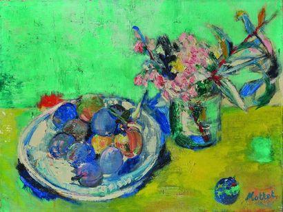 Yvonne MOTTET (1906-1968) : Fleurs et assiette...